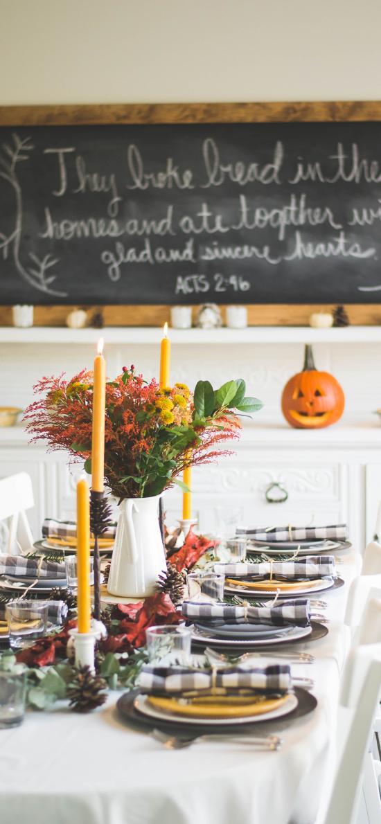 餐桌 餐具 盘子 刀叉 蜡烛