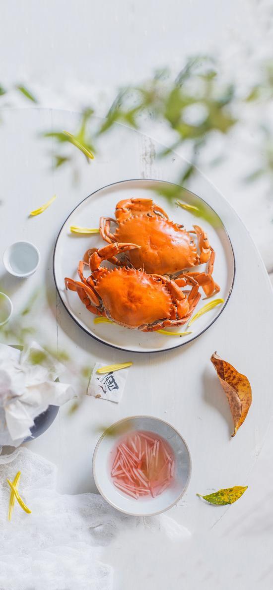 海鲜 美食 螃蟹 落叶