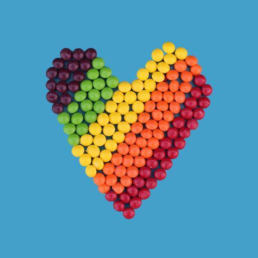 爱心 糖果 色彩 彩虹糖