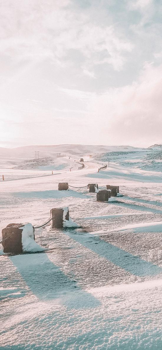 冬季 郊外 雪地 阳光 唯美