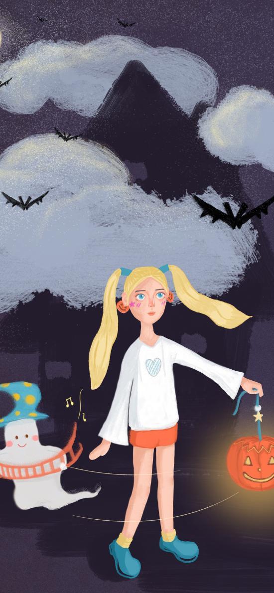 万圣节 南瓜灯 女孩 幽灵 插画 蝙蝠