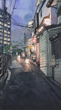 街道 水彩 绘画 夜晚 斜坡