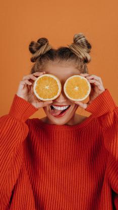 橙色 女孩 水果 橙 搞怪