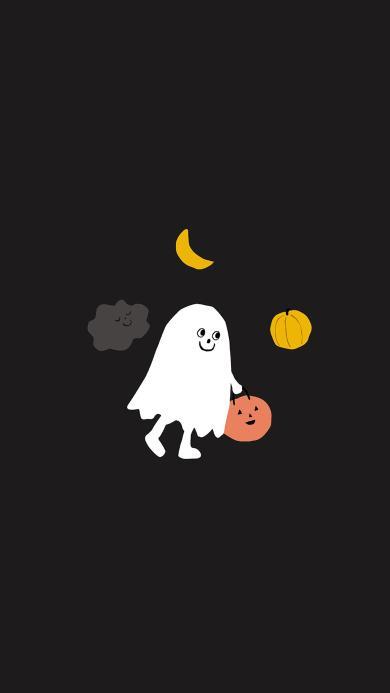 万圣节 南瓜灯 插画 幽灵 可爱