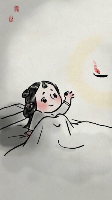 一禅小和尚 情侣插画 水墨 女孩