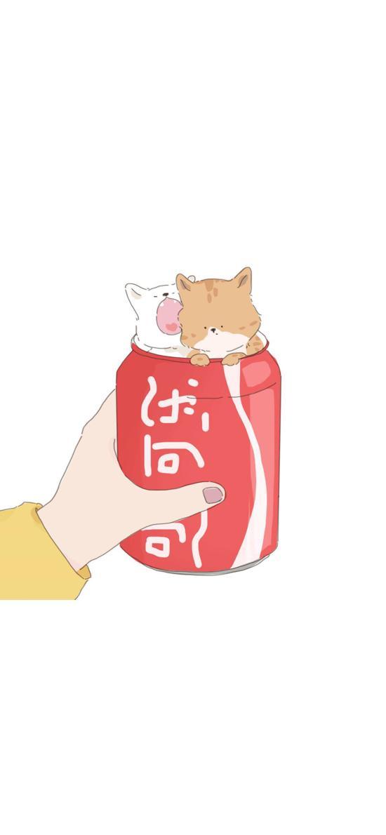 卡通 情侣 猫咪 可口可乐