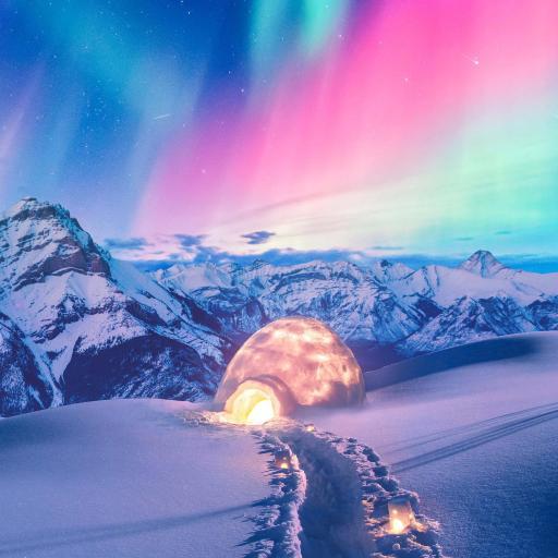 极光 雪地 雪山 流星