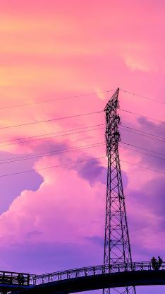 电线 铁塔 线缆 黄昏 夕阳 唯美