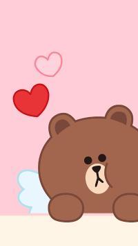 line friends 布朗熊 卡通 可爱 粉色 爱心