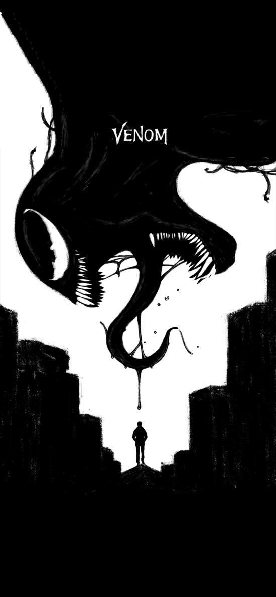 毒液 致命守护者 电影 科幻 欧美 黑白 水墨