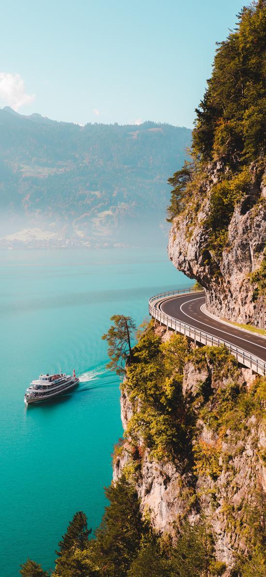 海岸 游轮 峭壁 公路