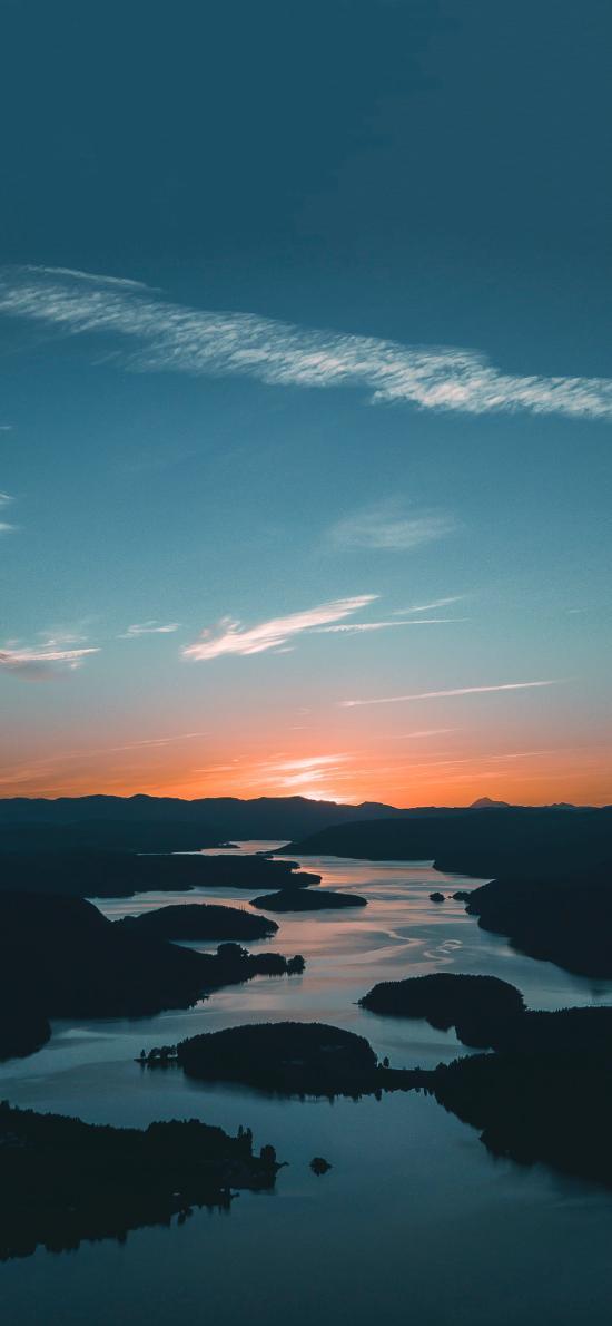 河流 蜿蜒 曲線 日落