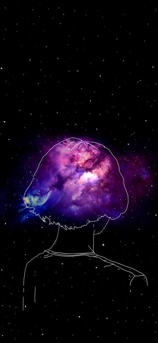 背影 宇宙 線條 插畫