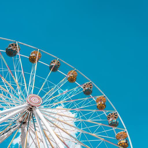 摩天轮 蓝色 娱乐 设施 游乐场