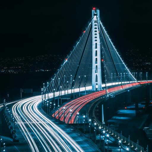 夜景 车流 灯光 延时 桥梁