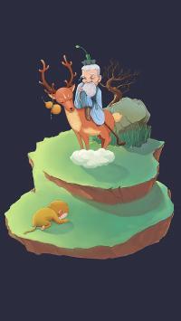 插画 麋鹿 猴子 跪拜 老人