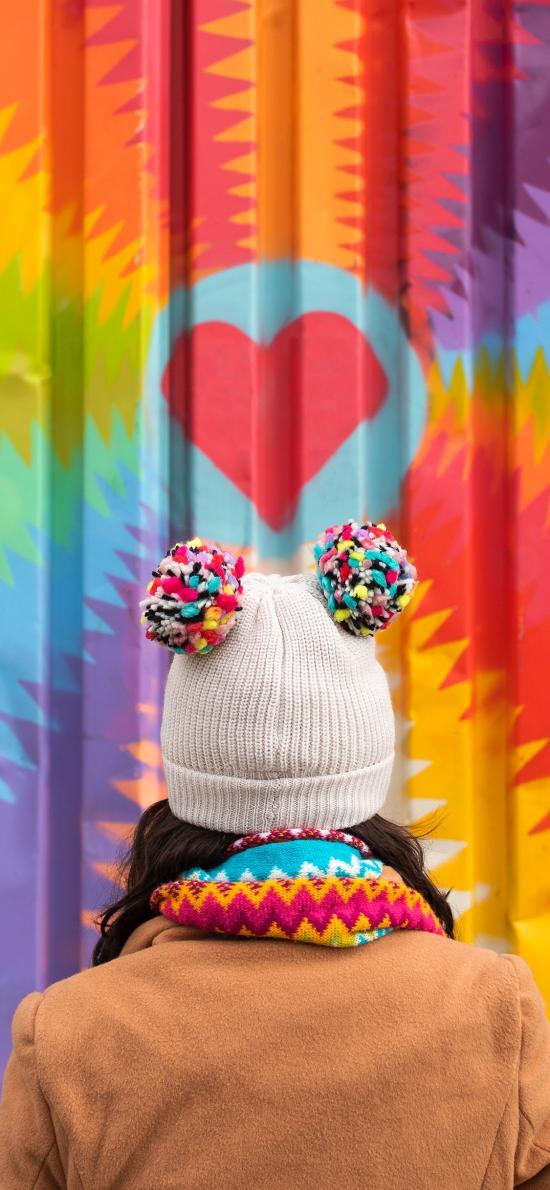 色彩 五彩 毛线帽 背影