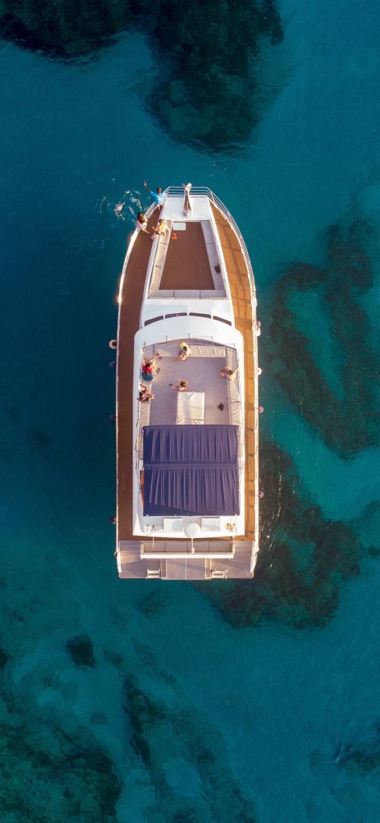 航拍 大海 船只 游艇 度假