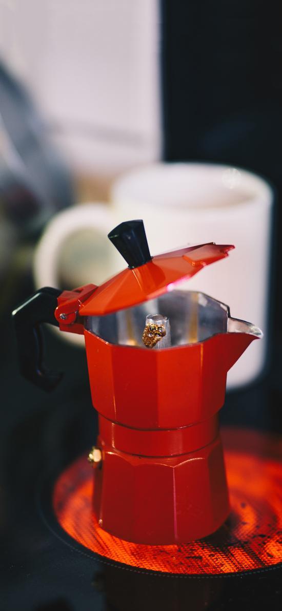 器具 咖啡壶 红色 容器