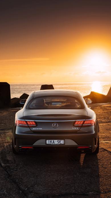 奔驰 汽车 轿车 海边 海岸 日落