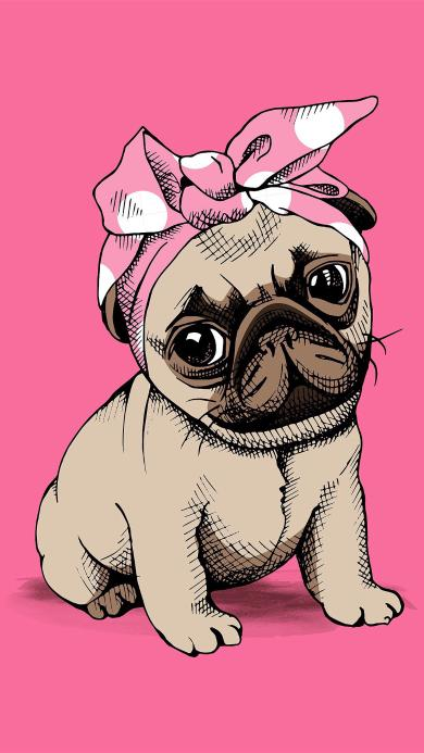 可爱 巴哥 小狗 绘画 粉