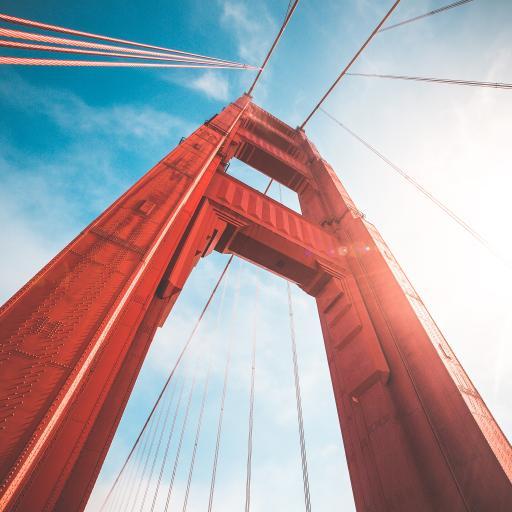 金门大桥 仰视 天空 钢索