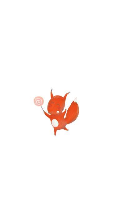 狐狸 可爱 棒棒糖 绘画