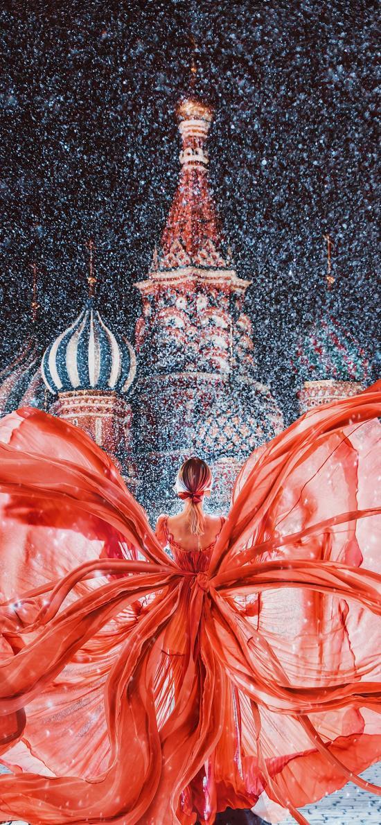 唯美 礼服 城堡 裙摆