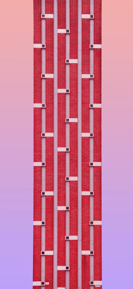 粉色渐变 建筑 砖块 红砖