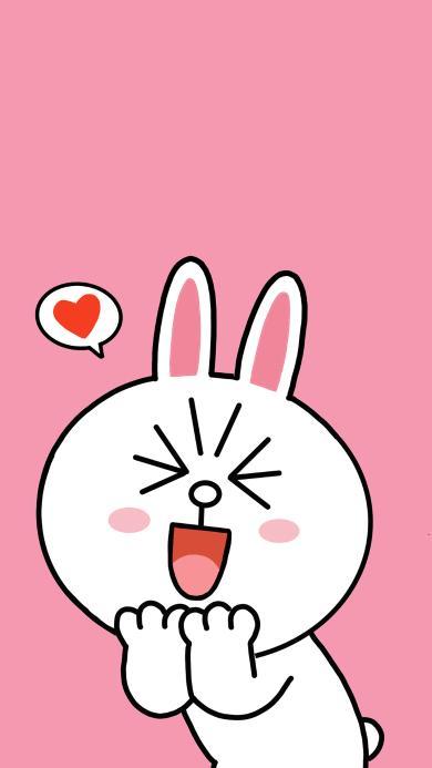 line friends 可妮兔 卡通 可爱 粉色 喜欢 爱心