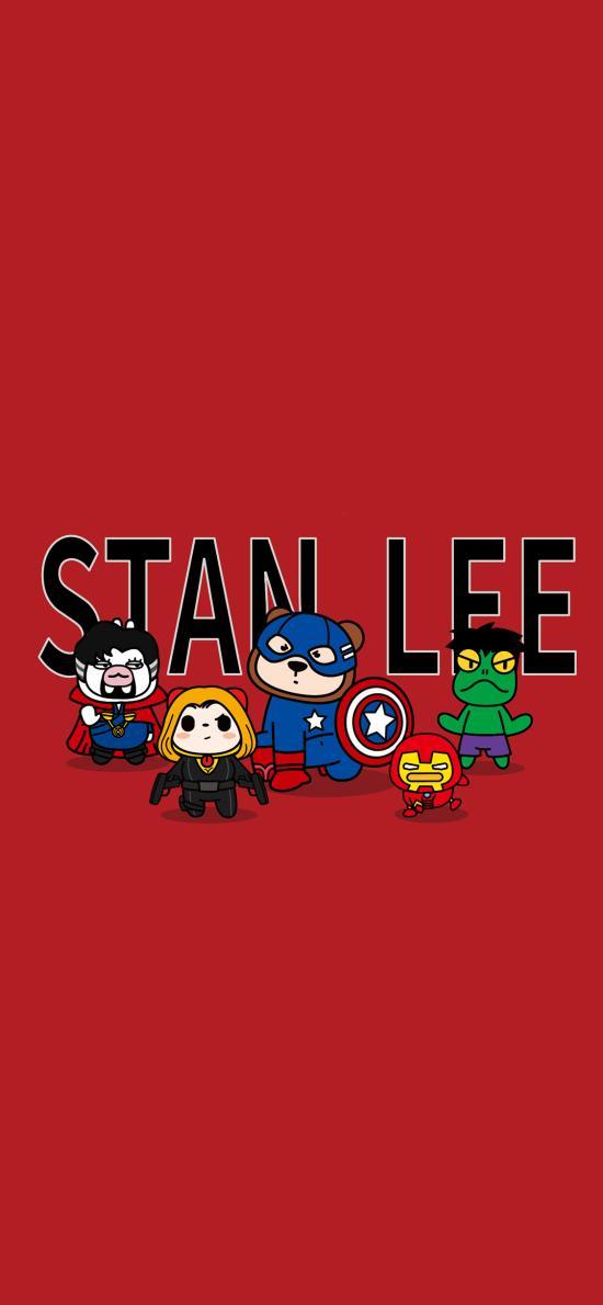 斯坦·李 Stan Lee 超级英雄 夏萌猫 红色 漫威