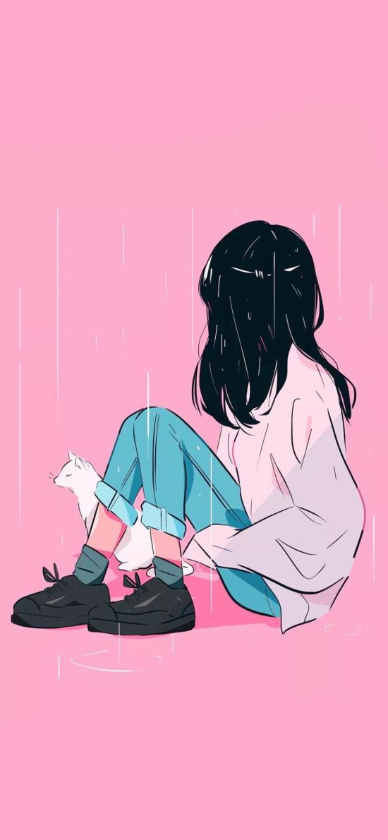 粉色背景 卡通 女孩 雨水