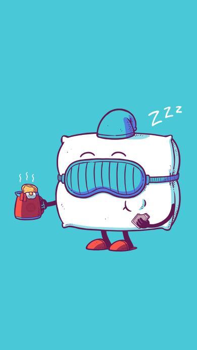 插画 枕头 眼罩 睡眠 拟人