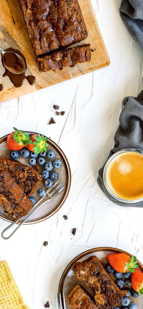 面包 餐点 蓝莓 巧克力酱 咖啡