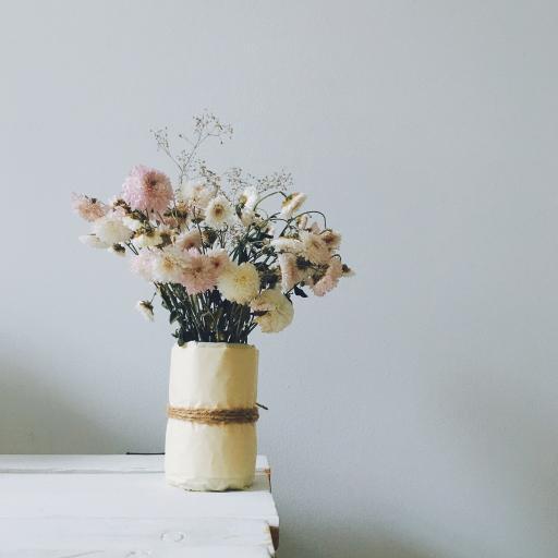 花瓶 鮮花 菊花 干花 盛開