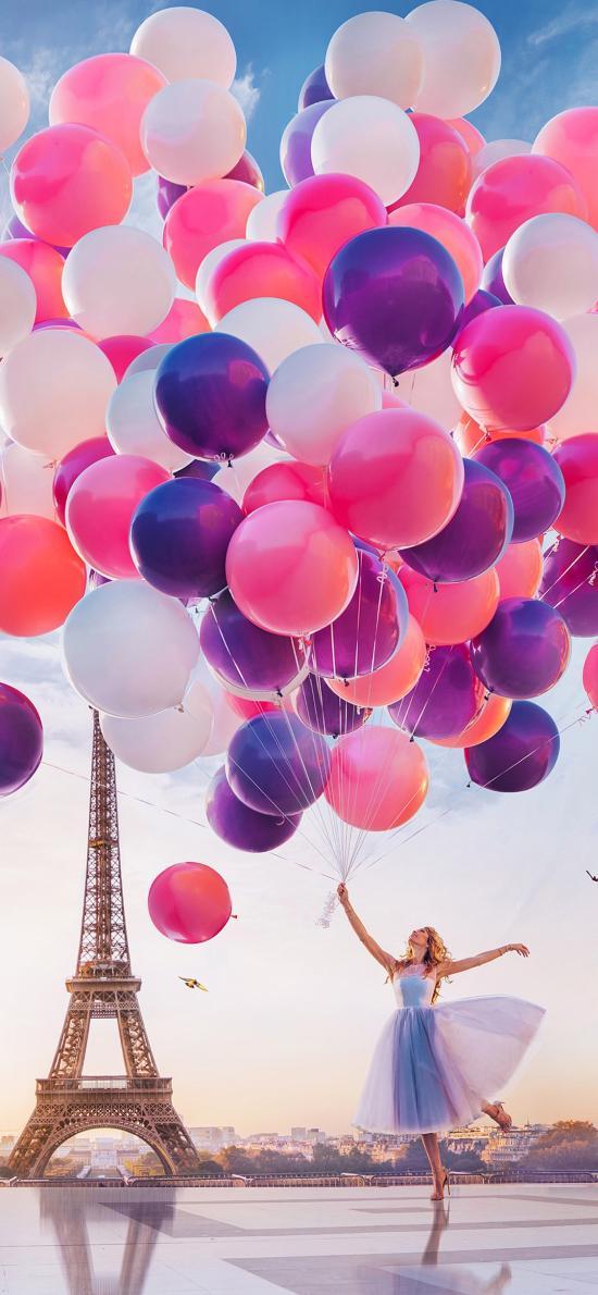 气球 色彩 女孩 唯美 埃菲尔铁塔