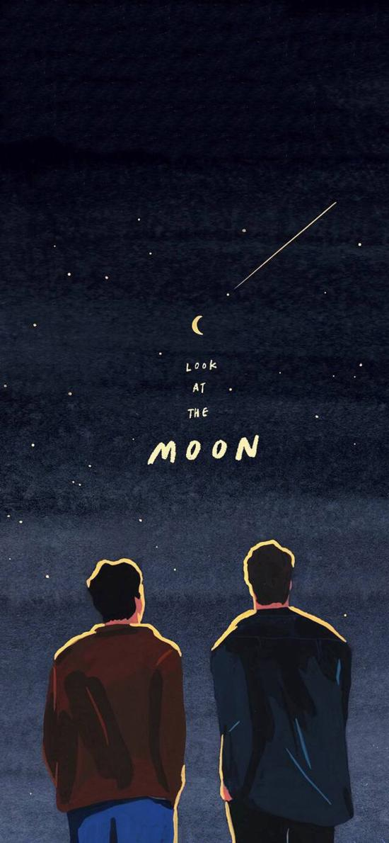 插画 背影 look at the moon