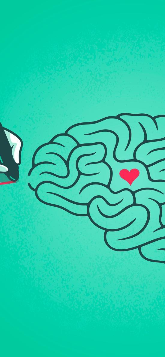 绘画 大脑 爱心 迷宫