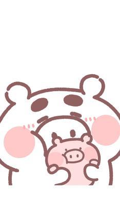 情侣 锁屏 猪猪 卡通 白色