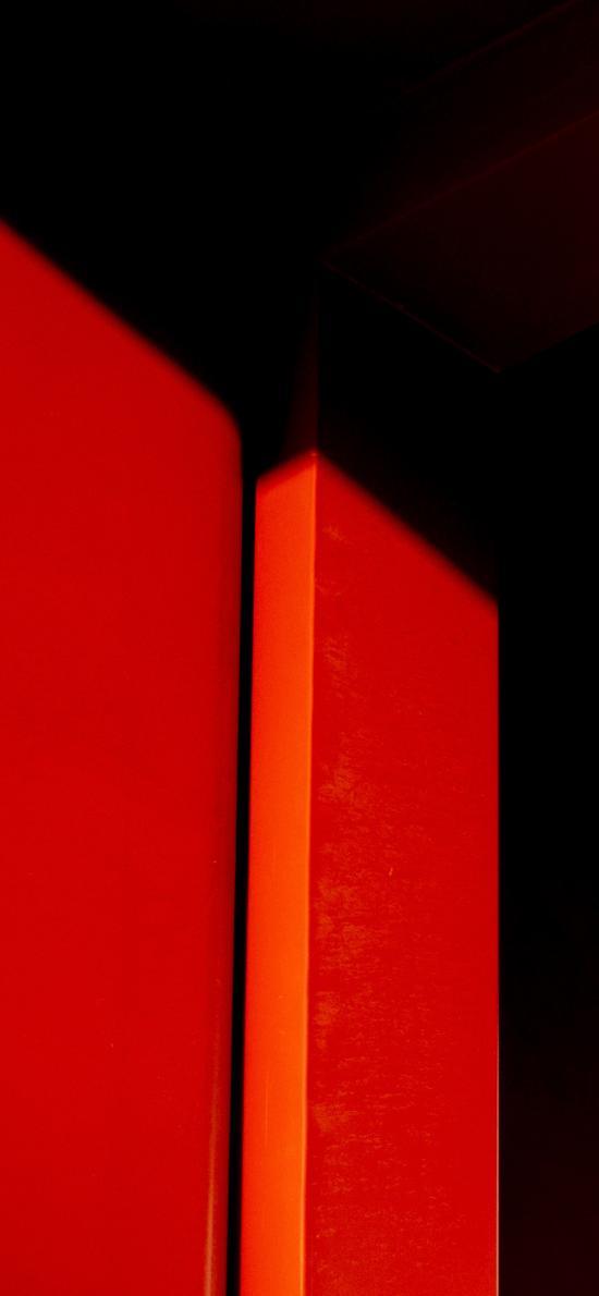 红色 线条 简约 方体