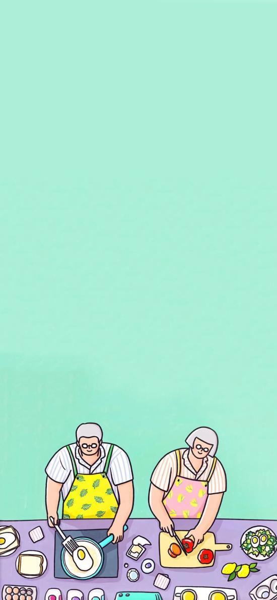 做饭 煎蛋 夫妻 情侣 插画 爱情