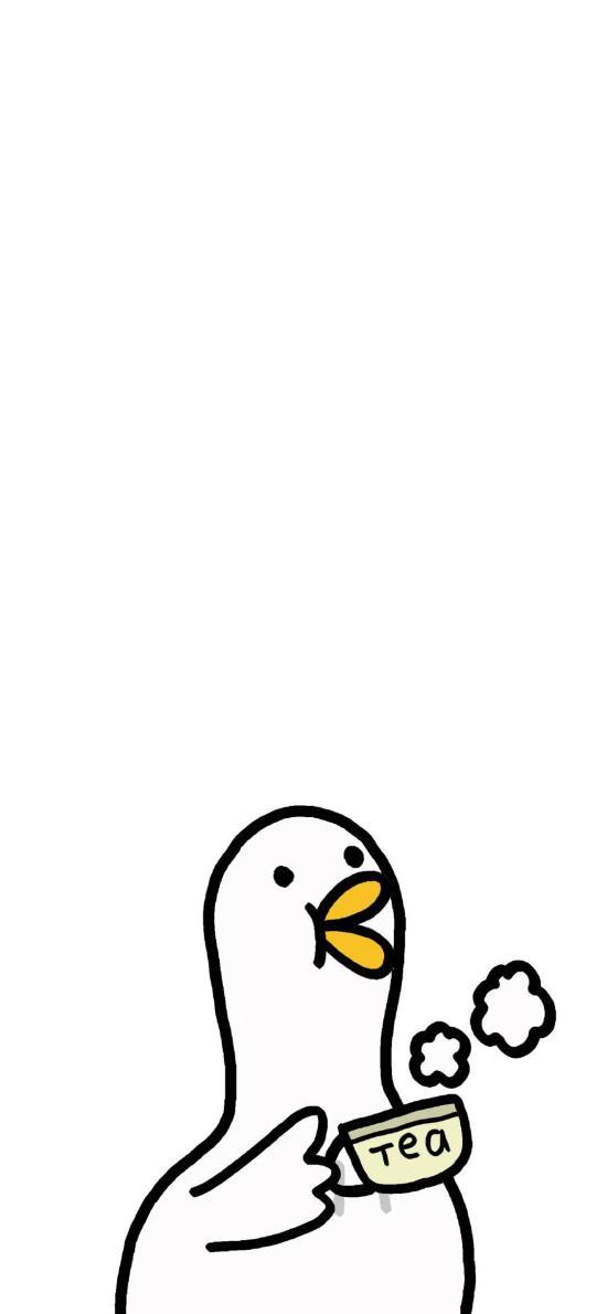 鸭子 喝茶 简笔画 可爱 卡通