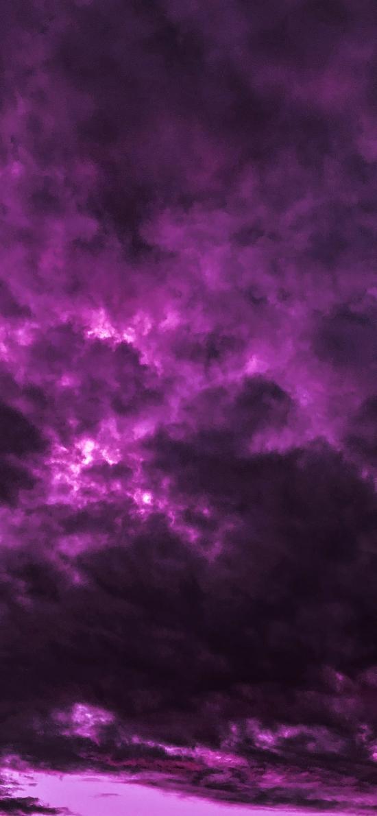 云层 紫色 奇异 云彩
