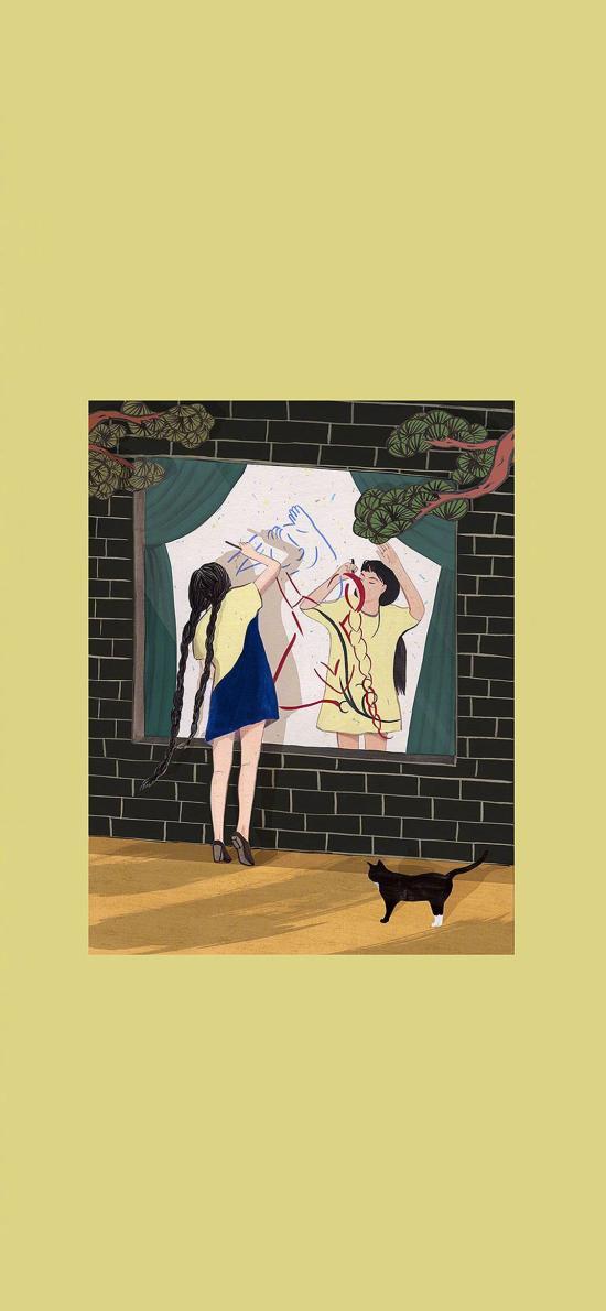 ChungSung插畫 女孩 背影 黑貓