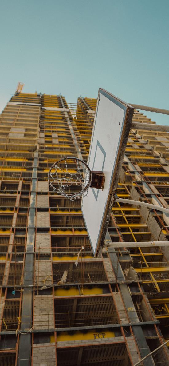 高楼建筑 体育器材 篮球框 投篮