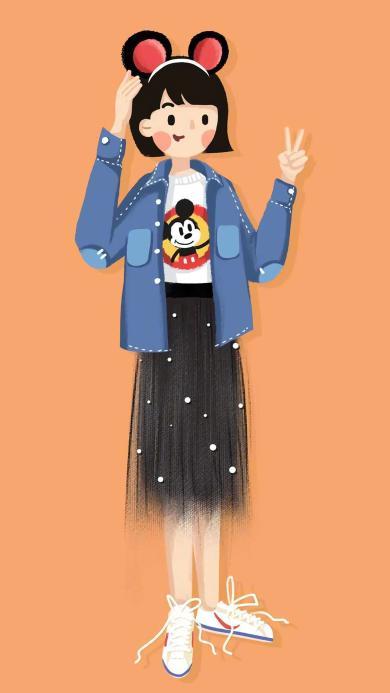 女孩 插画 时尚 时装 米奇 剪刀手