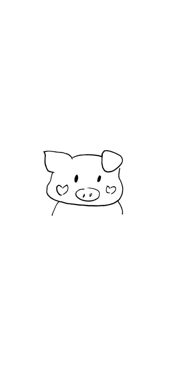 猪猪 简笔画 情侣壁纸 可爱