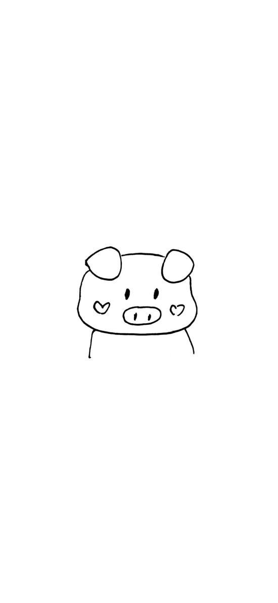 猪猪 简笔画 可爱 情侣壁纸