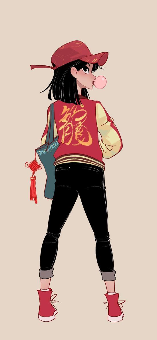 花木兰 背影 私服 中国风 潮服