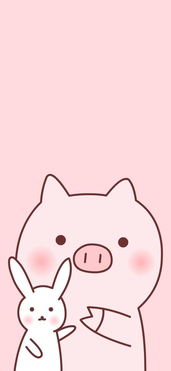猪 兔子 粉色 可爱 卡通